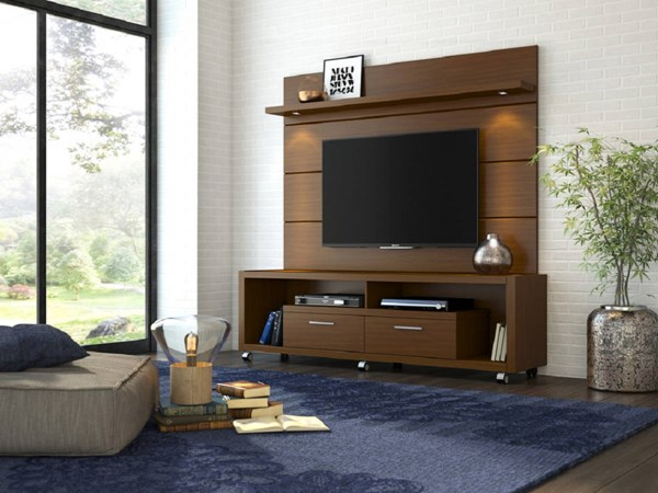 Cabrini Nut Brown MDF TV Stand w/1.8 Panel Entertainment Center MHC-15472-82251-ENT-S1