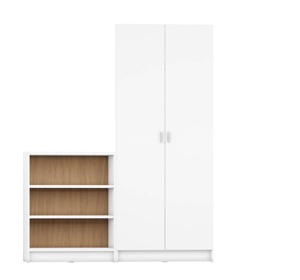 Manhattan Comfort Greenwich MDF 2pc Bookcases MHC-2-16035-16055-BK-VAR