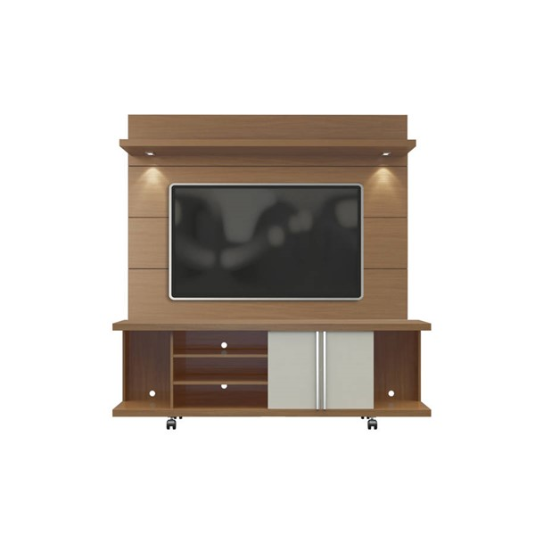 Manhattan Comfort Carnegie Maple TV Stand with Cabrini 1.8 Lights Floating Wall Panel MHC-2-1635482254
