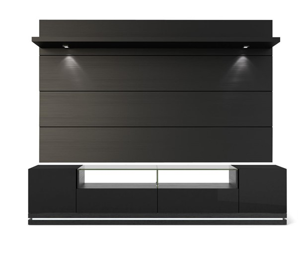 Manhattan Comfort Vanderbilt Cabrini 2.2 Black TV Stand and Panel with LED Lights MHC-2-1755382353