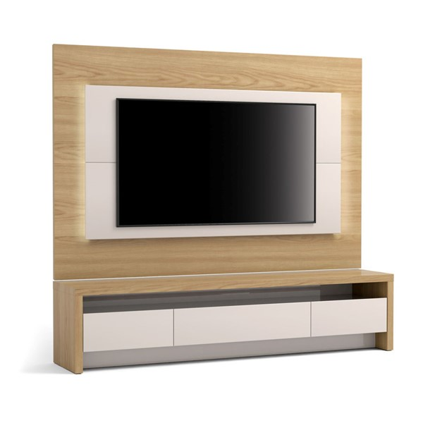 Manhattan Comfort Sylvan Nature Wood Off White 70.86 inch TV Stand and Panel with LED Lights MHC-2-221151252451