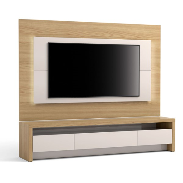 Manhattan Comfort Sylvan Nature Wood Off White TV Stand and Panel with LED Lights MHC-2-221251252551