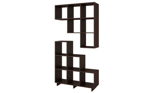 2 Manhattan Comfort Cascavel Tobacco Melamine 6 Cube Shelves Stair Cubbies MHC-2-26AMC49