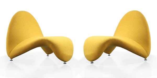 2 Manhattan Comfort Moma Yellow Wool Blend Accent Chairs MHC-2-AC009-YL