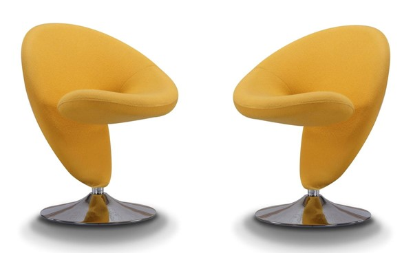 2 Manhattan Comfort Curl Yellow Wool Blend Swivel Accent Chairs MHC-2-AC040-YL