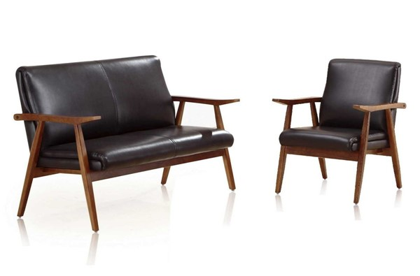 Manhattan Comfort Archduke Black Faux Leather 2pc Loveseat and Armchair Set MHC-2-LSAC01-BK