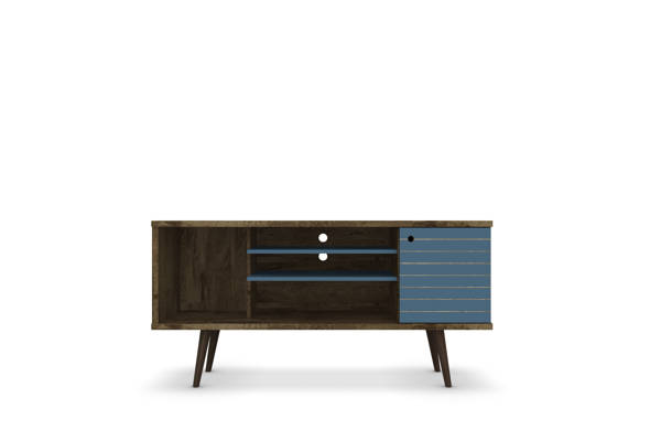 Manhattan Comfort Liberty Brown Aqua Blue 53.14 Inch TV Stand MHC-200AMC93