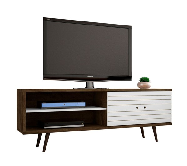 Manhattan Comfort Liberty Brown 62.99 Inch TV Stand with White Doors MHC-201AMC96