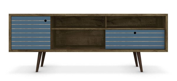 Manhattan Comfort Liberty Brown Aqua Blue 70.86 Inch 4 Shelves TV Stand MHC-202AMC93