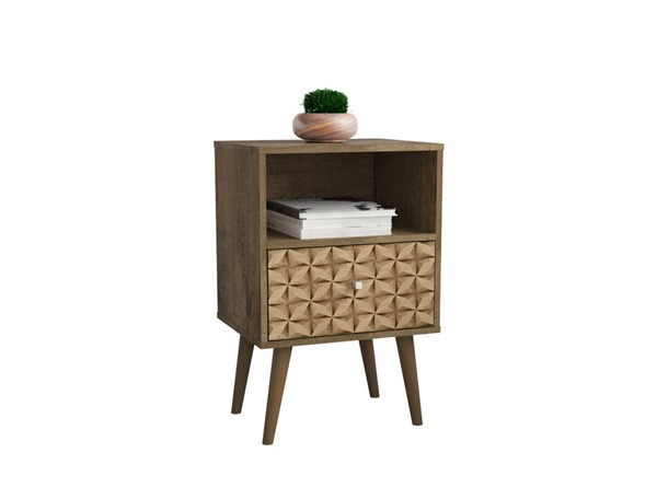 Manhattan Comfort Liberty White Night Stand 2.0 With Brown 3D Print Drawers MHC-203AMC97
