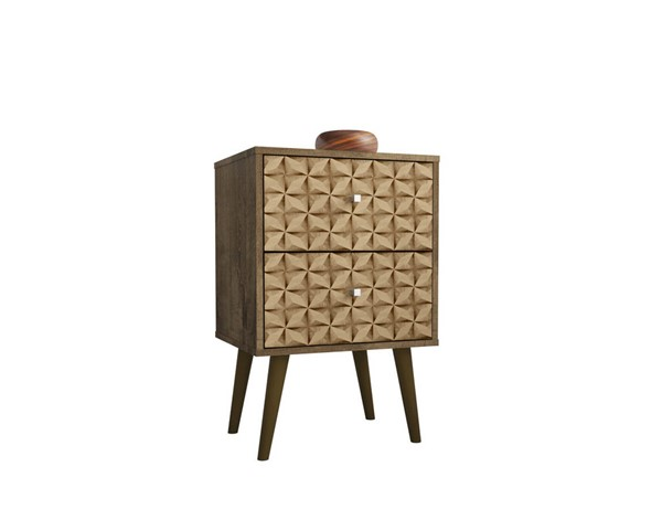 Manhattan Comfort Liberty Rustic Brown Nightstand 2.0 with 3D Print Brown 2 Drawer MHC-204AMC97