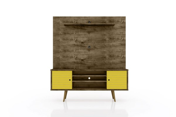 Manhattan Comfort Liberty Rustic Brown 63 Inch Entertainment Center with Yellow Door MHC-213BMC94