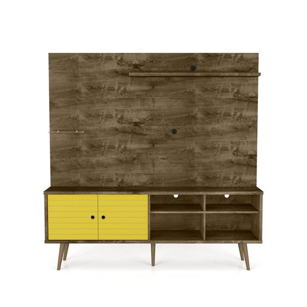 Manhattan Comfort Liberty Rustic Brown 70.87 Inch Entertainment Center with Yellow Door MHC-214BMC94