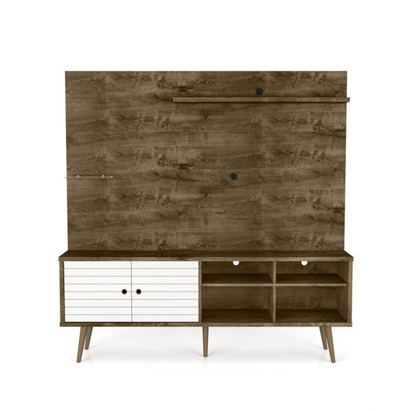 Manhattan Comfort Liberty Brown 70.87 Inch Entertainment Center With White Doors MHC-214BMC96