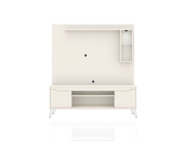 Manhattan Comfort Baxter Off White 62.99 Inch Freestanding Entertainment Center with LED Lights MHC-219BMC1