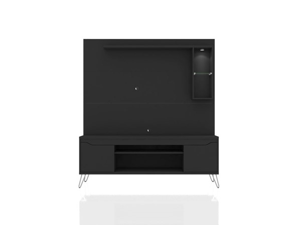 Manhattan Comfort Baxter Black 62.99 Inch Freestanding Entertainment Center with LED Lights MHC-219BMC8