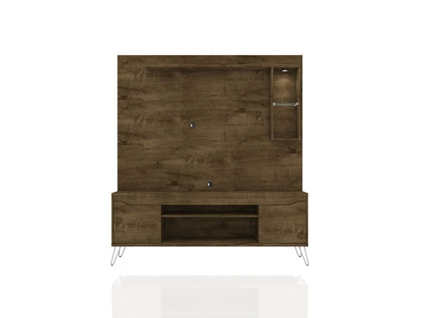 Manhattan Comfort Baxter Brown 62.99 Inch Freestanding Entertainment Center with LED Lights MHC-219BMC9