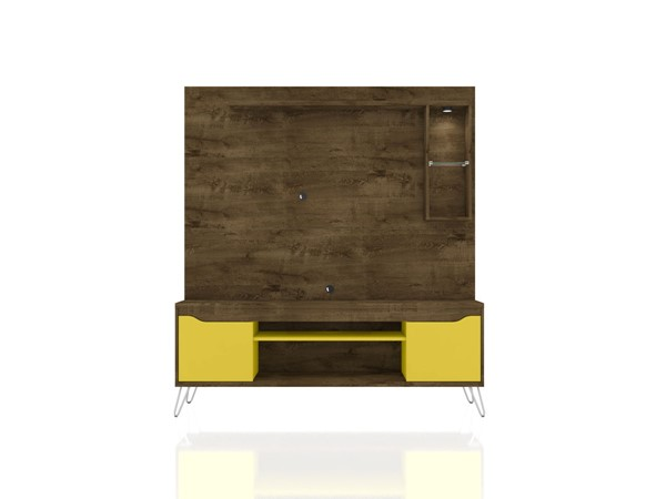 Manhattan Comfort Baxter Brown Yellow 62.99 Inch Freestanding Entertainment Center with LED Lights MHC-219BMC94
