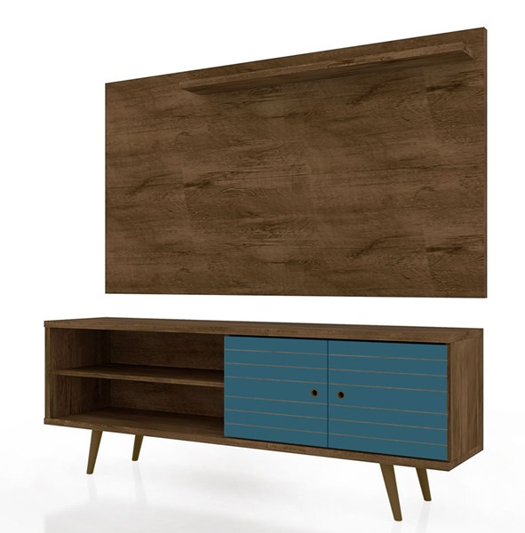 Manhattan Comfort Liberty Brown Aqua Blue 2pc 62.99 Inch TV Stand and Panel MHC-221-201AMC93