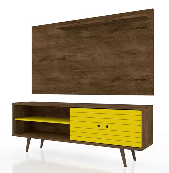 Manhattan Comfort Liberty Brown Yellow 2pc 62.99 Inch TV Stand and Panel MHC-221-201AMC94