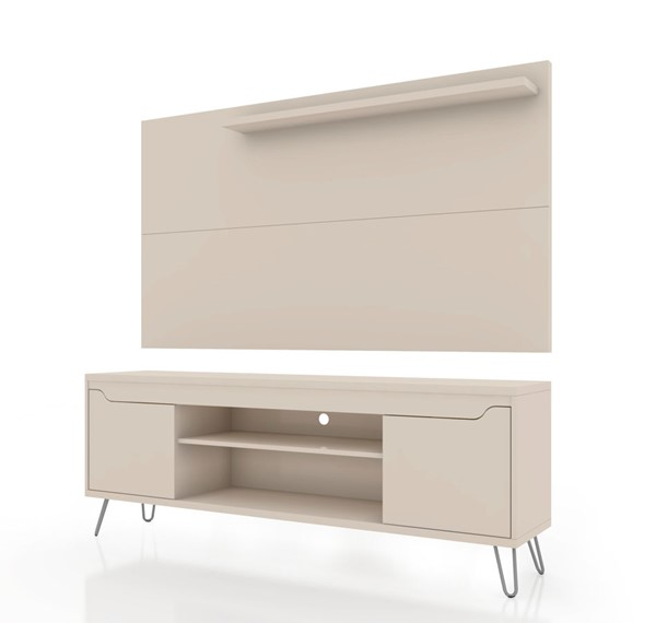 Manhattan Comfort Baxter Off White 2pc 62.99 Inch TV Stand and Liberty Panel MHC-221-217BMC1