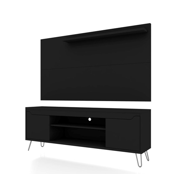 Manhattan Comfort Baxter Black 2pc 62.99 Inch TV Stand and Liberty Panel MHC-221-217BMC8