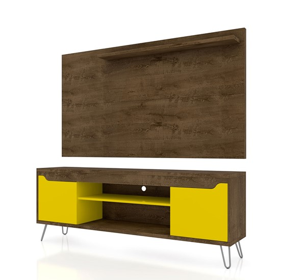Manhattan Comfort Baxter Brown Yellow 2pc 62.99 Inch TV Stand and Liberty Panel MHC-221-217BMC94