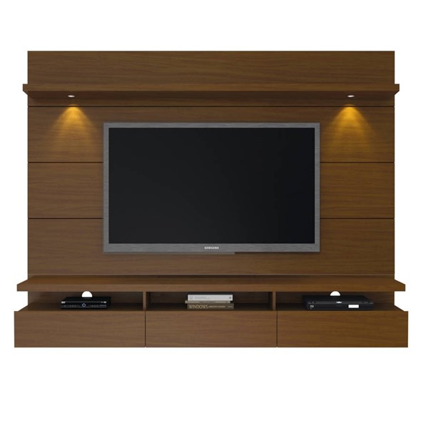 Manhattan Comfort Cabrini 2.2 Nut Brown Floating Wall Theater Entertainment Center MHC-23851