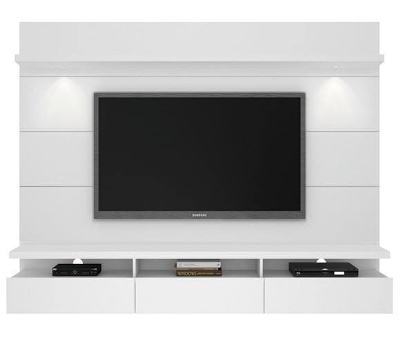 Manhattan Comfort Cabrini 2.2 White Floating Wall Theater Entertainment Center MHC-23852