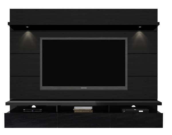 Manhattan Comfort Cabrini 2.2 Black Floating Wall Theater Entertainment Center MHC-23853
