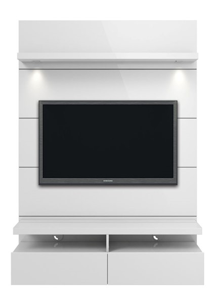 Manhattan Comfort Cabrini 1.2 White Floating Wall Theater Entertainment Center MHC-24952