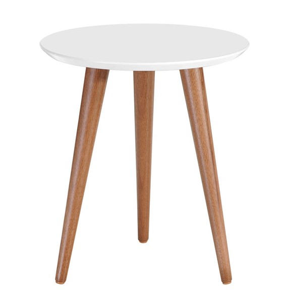 Manhattan Comfort Moore White 17.32 Inch Round End Table MHC-252151