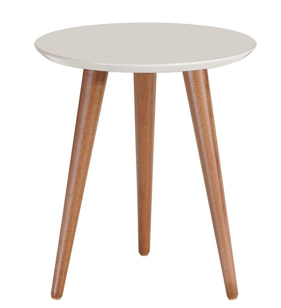 Manhattan Comfort Moore Off White 17.32 Inch Round End Table MHC-252152
