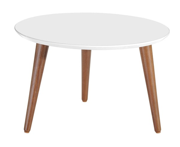 Manhattan Comfort Moore White 23.62 Inch Round Mid High Coffee Table MHC-252251