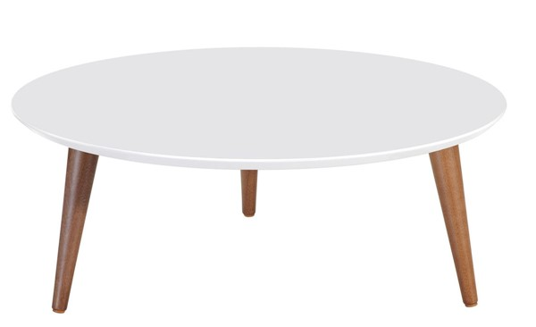 Manhattan Comfort Moore White 23.62 Inch Round Low Coffee Table MHC-252351