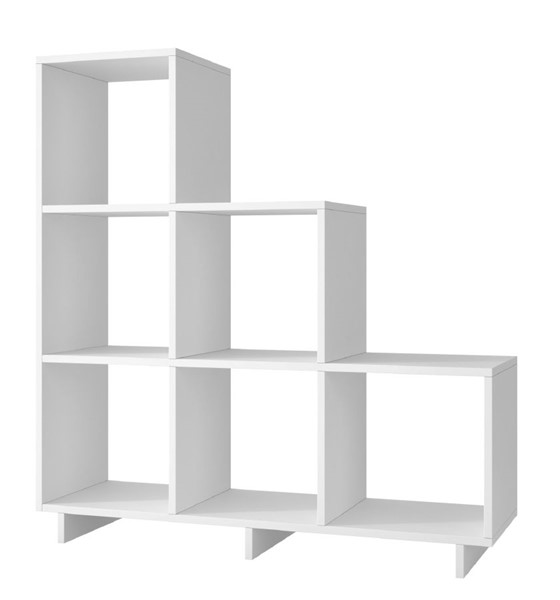 Manhattan Comfort Cascavel White Melamine 6 Stair Cubbies MHC-26AMC6