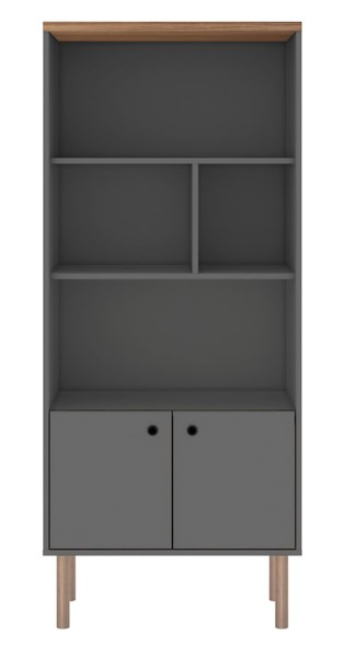 Manhattan Comfort Windsor Grey Display Bookcase Cabinet MHC-2LC3