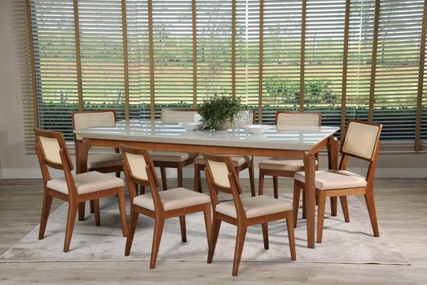 Manhattan Comfort Payson Pell 2.0 Off White 82.67 Inch 9pc Dining Set MHC-3-10141521011752