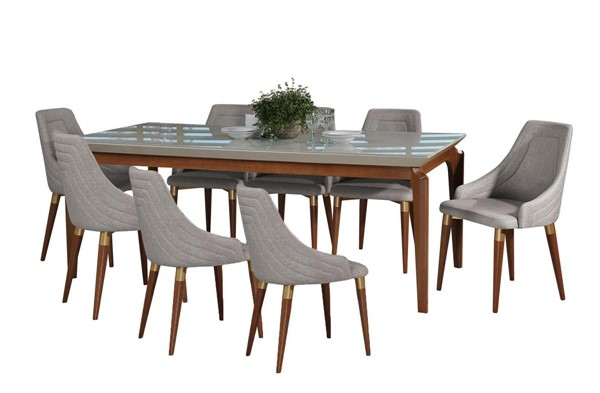 Manhattan Comfort Payson Utopia 2.0 Off White 82.67 Inch 9pc Dining Set MHC-3-10141521013353