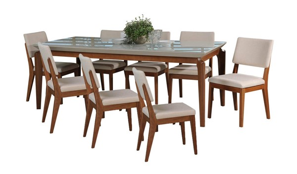 Manhattan Comfort Payson Dover Off White 82.67 Inch 9pc Dining Set MHC-3-1014152109351