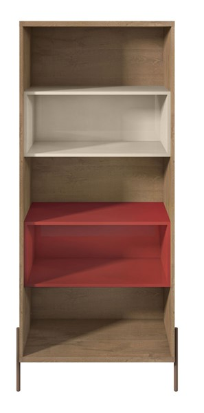 Manhattan Comfort Joy Red Off White 5 Shelves Bookcase MHC-350621