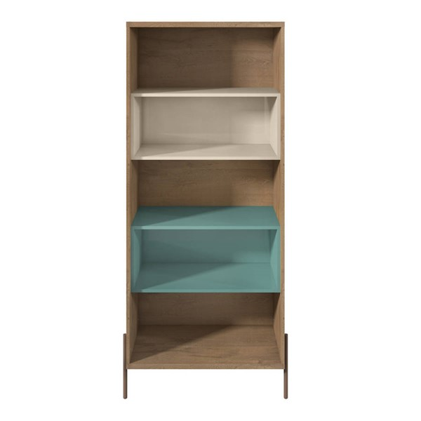 Manhattan Comfort Joy Blue Off White 5 Shelf Bookcase MHC-350622