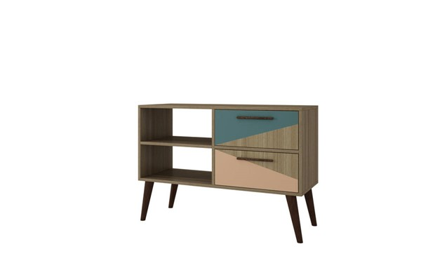 Manhattan Comfort Dalarna Oak 2.0 TV Stand with Peach Teal 2 Drawer MHC-3AMC163