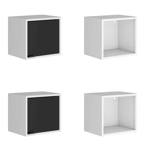 Manhattan Comfort Smart White Black 4pc 13.77 Inch Floating Cabinet and Display Shelves MHC-4-12GMC2