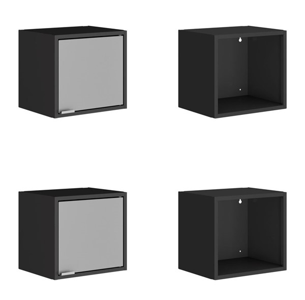 Manhattan Comfort Smart Black Grey 4pc 13.77 Inch Floating Cabinet and Display Shelves MHC-4-12GMC3