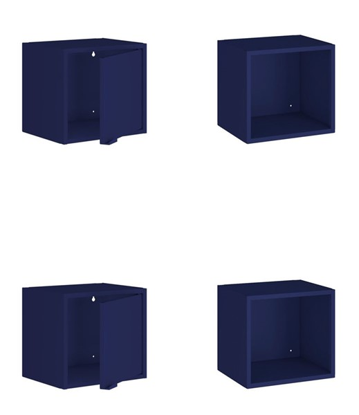 Manhattan Comfort Smart Blue 4pc 13.77 Inch Floating Cabinet and Display Shelves MHC-4-12GMC4