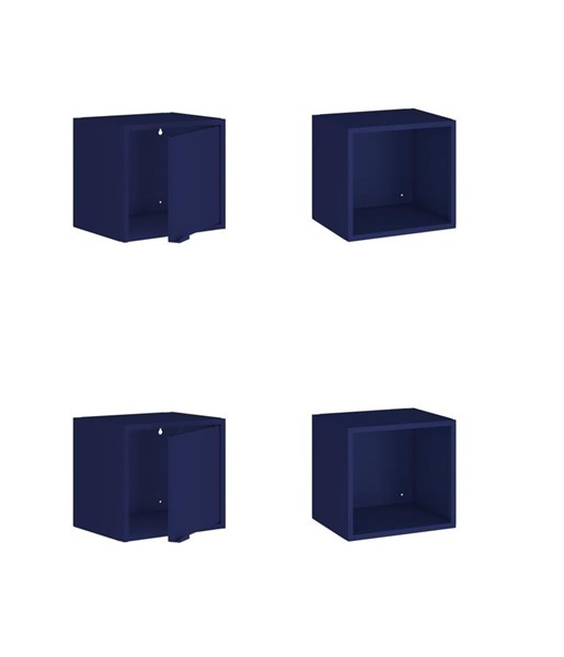 Manhattan Comfort Smart Blue 4pc Floating Display Shelves MHC-4-12GMC4