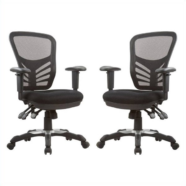 2 Gouvernor Black Executive Mesh High-Back Adjustable Office Chairs MHC-MC-616-B