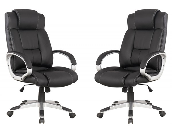 2 Walden Black High Back Bonded Leather Presidentential Office Chairs MHC-MC-631-B
