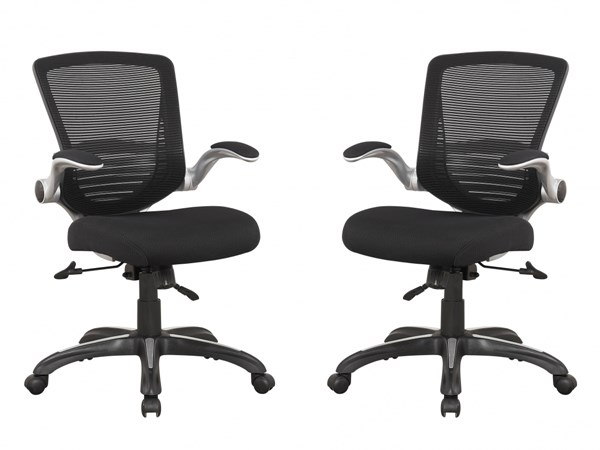 2 Walden Black Mesh Back Sponge Seat Flip Up Padded Arm Office Chairs MHC-MC-632-B